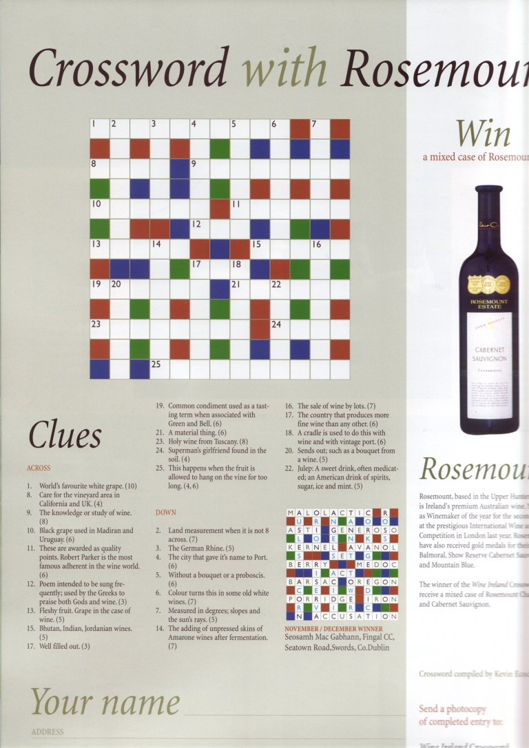 sc 1 st  Kevin Ecock & Wine Crossword 25forcollege.com